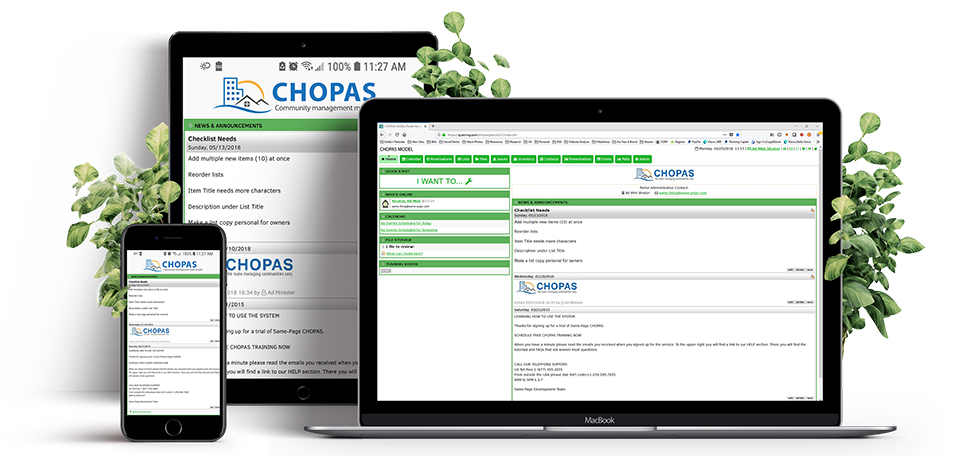 CHOPAS Community Portal and HOA Websites Features